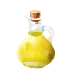 Watercolor olive oil vector