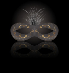 Theater or carnival mask with reflection on black vector