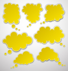 Set of paper yellow clouds vector