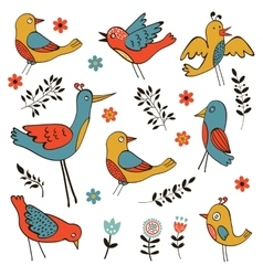 Cute collection of funny birds vector