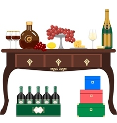 Wine and light refreshments vector