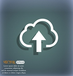 Upload from cloud icon symbol on the blue-green vector