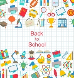 Set of school icons back to school objects vector