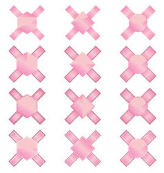 Soft pink product label ribbons vector