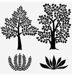 Trees and bushes - vector