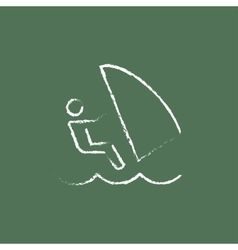 Wind surfing icon drawn in chalk vector