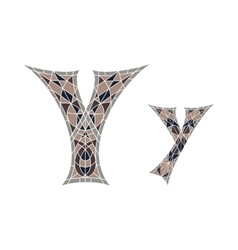 Low poly letter y in brown mosaic polygon vector