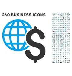 Global economics icon with flat set vector