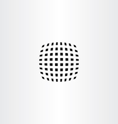 Black curved halftone square abstract icon vector