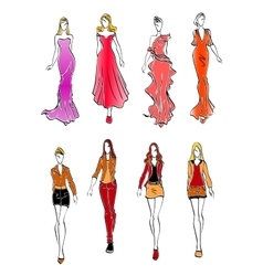Women in evening and casual outfits vector