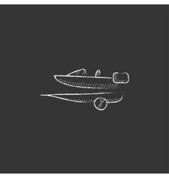 Boat on trailer for transportation drawn in chalk vector