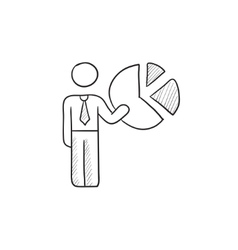 Businessman pointing at the pie chart sketch icon vector