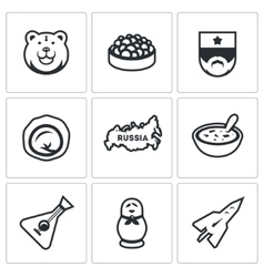 Set of russia icons bear caviar soldier vector
