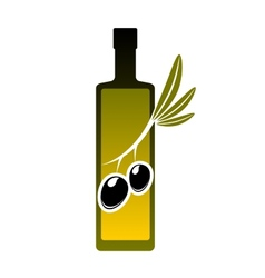 Bottle of olive oil with fresh olives icon vector image vector image