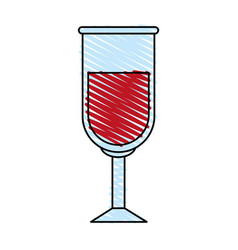 Color crayon stripe image glass cup with red wine vector