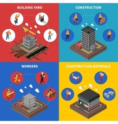 Construction Isometric Concept Icons Set vector image