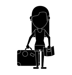 girl map travel suitcase pictogram vector image
