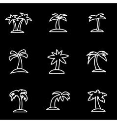 line palm icon set vector image vector image