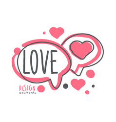 love logo template colorful hand drawn vector image vector image