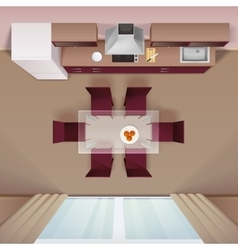 Modern Kitchen Top View Realistic Image vector image vector image