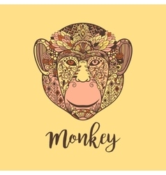 Monkey head with colorful ethnic motifs vector image vector image