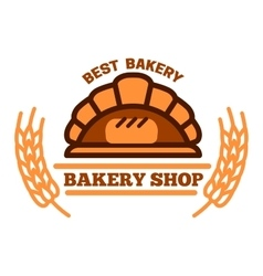 Organic bakery shop symbol with brick oven bread vector