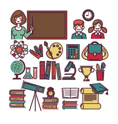 school education and lessons study items and vector image