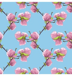 Seamless background with blooming magnolia tree vector