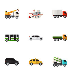 set of 9 editable car flat icons includes symbols vector image vector image