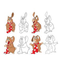 Set of cute rabbits cartoon character vector