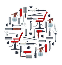 set of hairdresser objects in flat style isolated vector image vector image