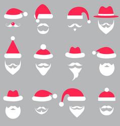 Set of santa hats and beards vector