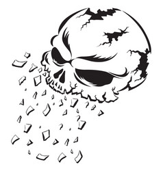shattering human skull tattoo vintage engraving vector image vector image