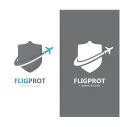 shield and airplane logo combination vector image vector image