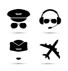 Stewardess pilot airplane icons vector