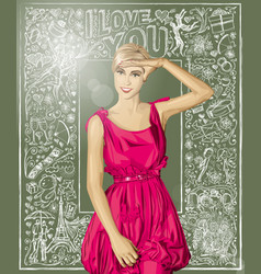 Surprised blonde in pink dress against love vector