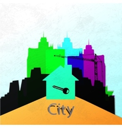 The city wall construction of a new home abstract vector