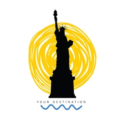 travel destination with statue of liberty vector image vector image
