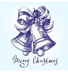 Christmas bells hand drawn llustration vector image