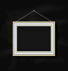 hanging picture frame on chalkboard background vector image