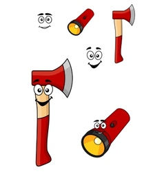Red cartoon axe and torch flashlight vector