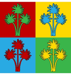 Pop art palm icons vector