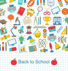 Back to school background with education objects vector