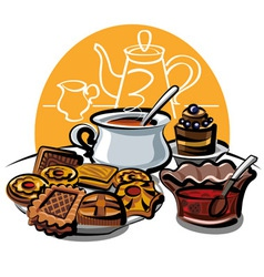 Cookie jam and tea vector