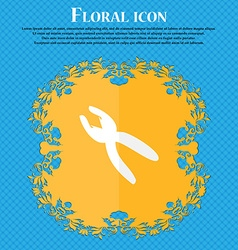 Pliers icon sign floral flat design on a blue vector