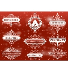 Christmas labels and banners set vector image