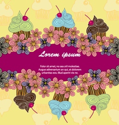 Colour postcard of cupcakes vector