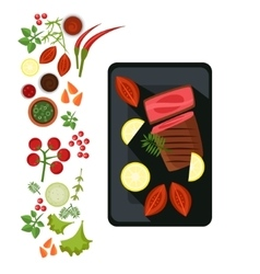 Medium steak on plate vector