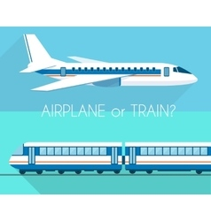 Airplane and train vector