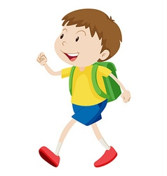 Little boy with schoolbag walking vector